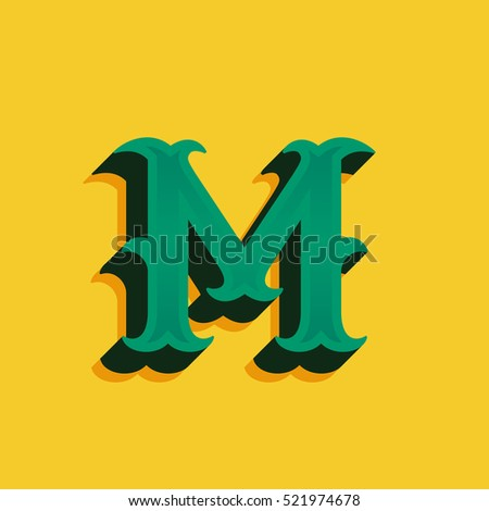 M Letter Logo In Vintage Money Style With Shadow Retro Decorative Font For Western