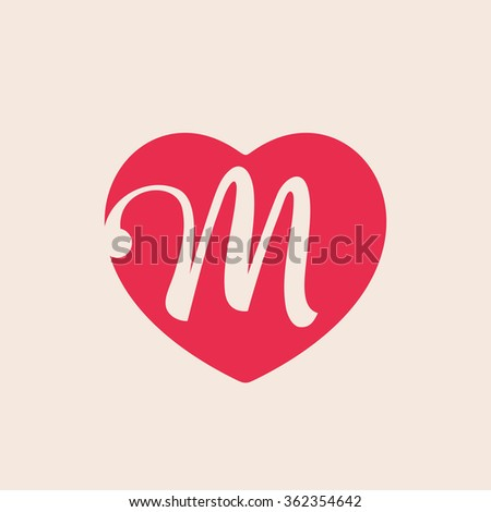 M Letter Logo Inside Heart For St Valentines Day Design Vector Vintage Template