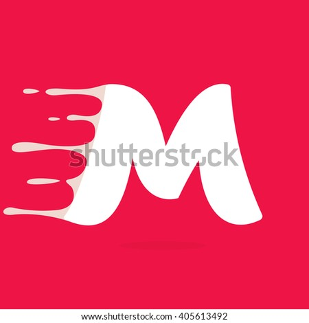 M letter logo made of milk. Vector design template elements for your poster or corporate identity. - stock vector