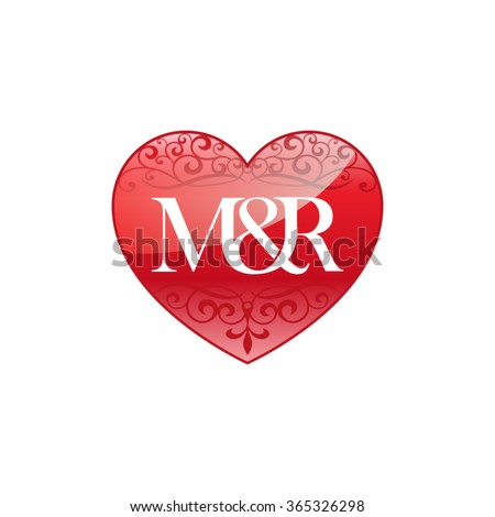MR Initial Letter Logo With Ornament Heart Shape