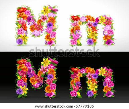 M, vector colorful flower font - stock vector