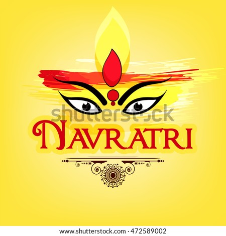 Maa Durga Face Design on grungy background with Stylish text and Floral Frame for Hindu Festival Shubh Navratri.
