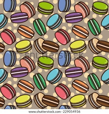 Macarons seamless pattern. Editable vector illustration. - stock vector
