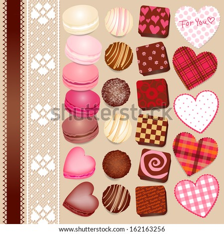 Macaroon and chocolate for Valentine's - stock vector
