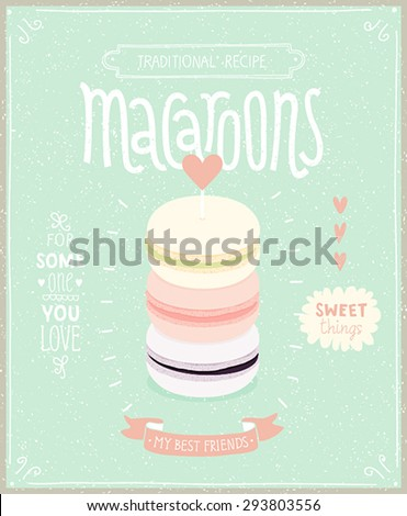 Macaroons Poster - template for your design. Vector illustration. - stock vector