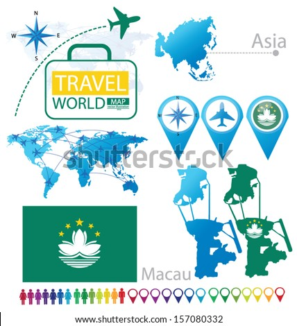 Macau. Macao Special Administrative Region of the People's Republic of China. flag. Asia. World Map. Travel vector Illustration. - stock vector