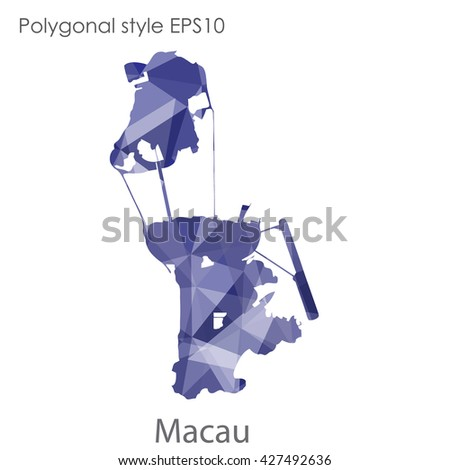 Macau map in geometric polygonal style. Abstract triangle, modern design background
