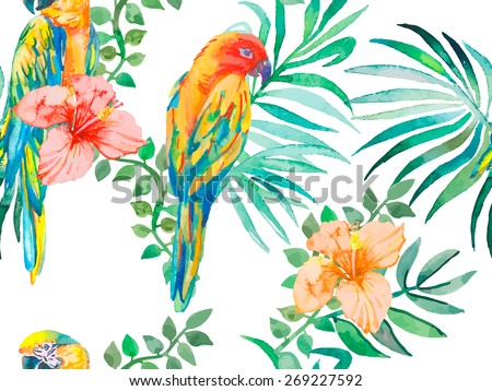 Macaw seamless pattern. Topical flower and leaves, hibiscus. Tropical parrot. Exotic. Vector for your design.Transparent background. - stock vector