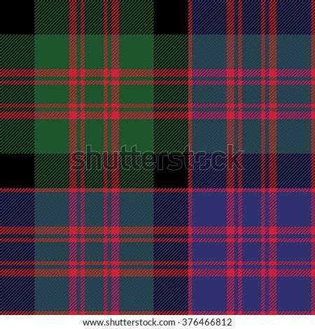 Macdonald tartan kilt fabric textile check pattern seamless.Vector illustration. EPS 10. No transparency. No gradients. - stock vector