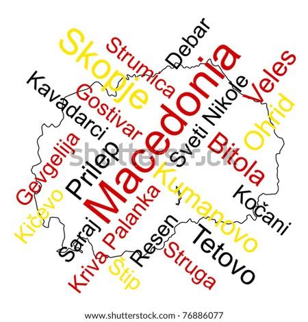 Macedonia map words cloud larger cities stock photo photo vector macedonia map and words cloud with larger cities publicscrutiny Choice Image
