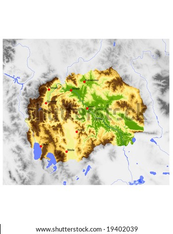 Macedonia, Republic. Physical vector map, colored according to elevation, with selected cities. Surrounding territory greyed out. 51 layers, fully editable. Data source: NASA - stock vector
