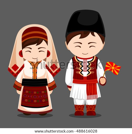 Macedonians National Dress Flag Man Woman Stock Vector