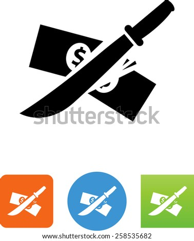 Machete slashing money symbol for download. Vector icons for video, mobile apps, Web sites and print projects.  - stock vector