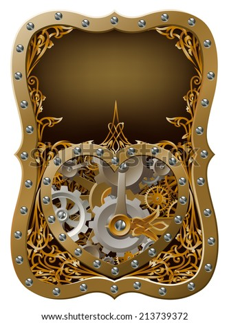 Machine clockwork heart concept with a heart shape made of cogs and gears with art nouveau background - stock vector