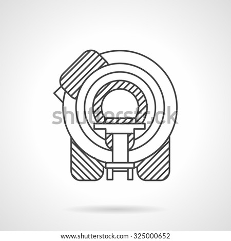 Machine for magnetic resonance tomography. Flat line style vector icon. Medical diagnosis equipment. Elements of web design for business. - stock vector
