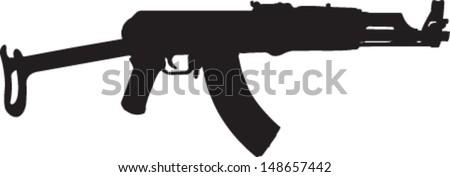 Machine gun silhouette, automatic rifle, vector - stock vector