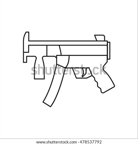 Machine Gun Symbol Sign One Line Stock Vector Hd Royalty Free