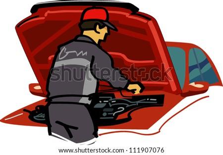 Machine maintenance - stock vector
