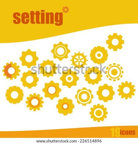 Machine Wheel Setting Icon Set in yellow/orange, individual Shape on white Background - stock vector