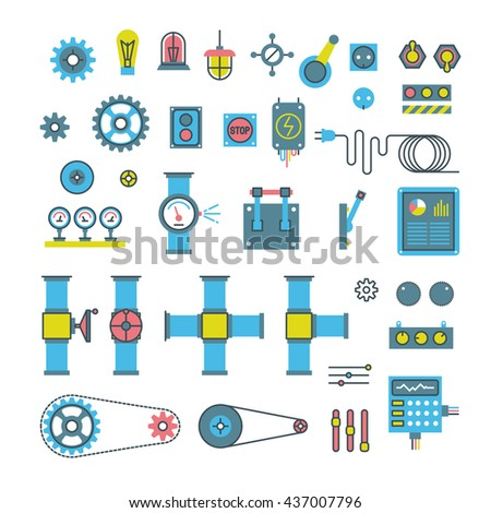 Machinery parts flat vector icons. Machinery gear for industry, wheel with cog and engineering mechanical gear equipment illustration - stock vector