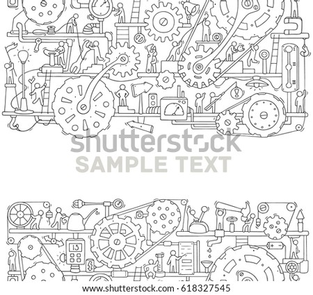 machinery template space text doodle cartoon stock vector 618327545