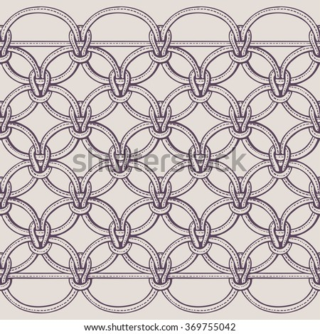 Macrame seamless pattern made of ropes. Vector endless textile background isolated on white. - stock vector