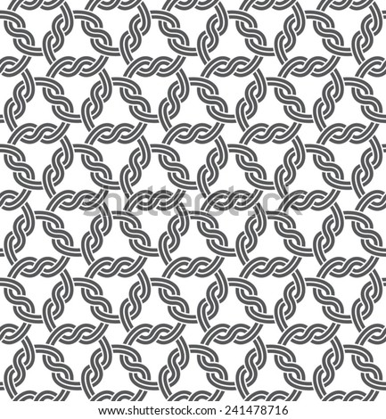 Macrame Seamless Pattern, white seamless chain link fence ornament on black - stock vector