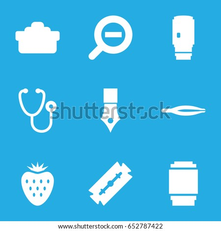 Macro icons set. set of 9 macro filled icons such as razor, tweezers, stethoscope, camera lense, zoom out, strawberry