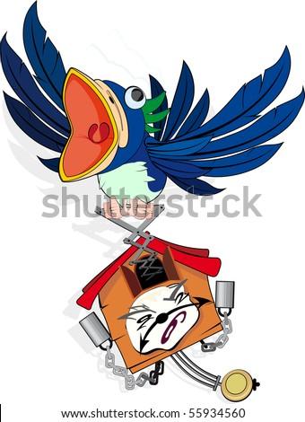 Mad, Funny Cuckoo wall Clock - stock vector