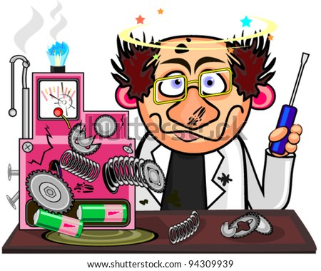 Mad inventor - stock vector