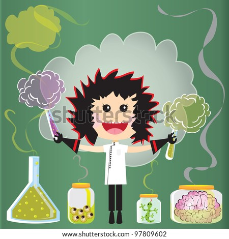 Mad Scientist Birthday Party Invitations. Puffs of smoke and fumes leak from test tubes, beakers and jars of eyeballs, lizards and a pink brains against a green chalkboard. - stock vector