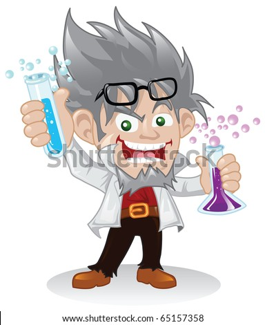 Mad scientist cartoon character holding some flasks of chemical fluids. - stock vector