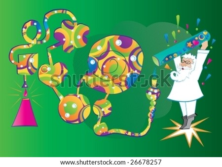 Mad scientist experimenting, vector illustration - stock vector