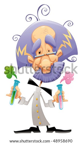 Mad scientist. Funny vector and cartoon character. - stock vector