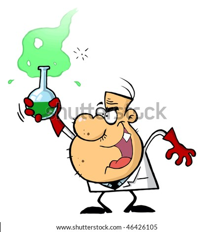 Mad Scientist Holds Bubbling Beaker Of Chemicals - stock vector