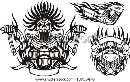 Mad skeleton at the wheel a motorcycle. Tribal bikes. Vector illustration ready for vinyl cutting. - stock vector