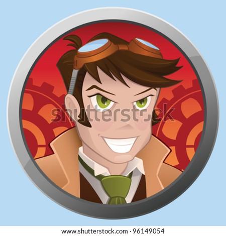 Mad Steampunk Boy - vector - stock vector