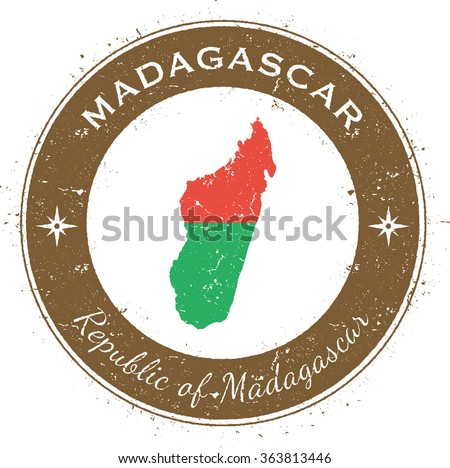 Madagascar. Grunge rubber stamp with country flag, map and the Madagascar written along circle border, vector illustration - stock vector