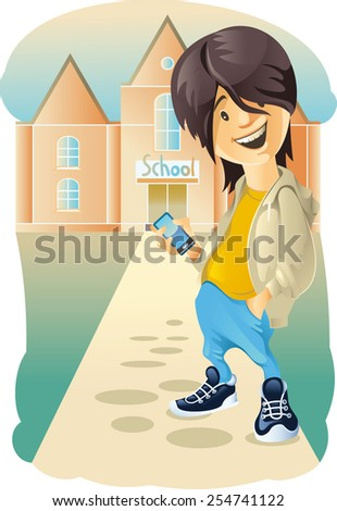 Madcap. School-age child with phone - stock vector
