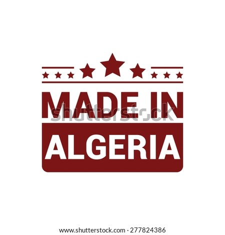 Made in Algeria. Red rubber stamp design isolated on white background. vector illustration vintage texture.