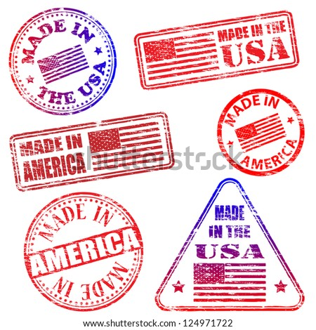 Made in America. Rubber stamp vector illustrations - stock vector