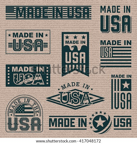 Made in America (USA) - set of different labels, badges, stamps. - stock vector
