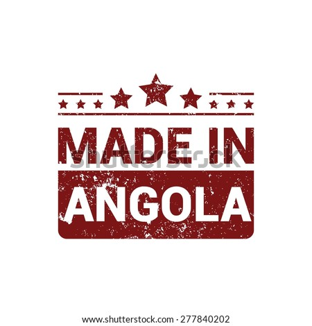 Made in Angola. Round red rubber stamp design isolated on white background. vector illustration vintage texture. - stock vector