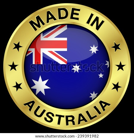 Made in Australia gold badge and icon with central glossy Australian flag symbol and stars. Vector EPS 10 illustration isolated on black background. - stock vector