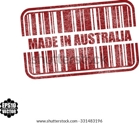 Made in Australia With Barcode And Shadow Red Grunge Stamp Isolated On White Background. Vector illustration  - stock vector