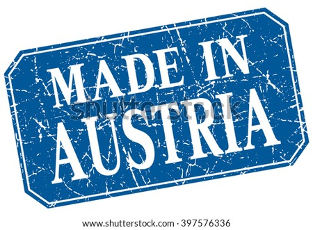 made in Austria blue square grunge stamp