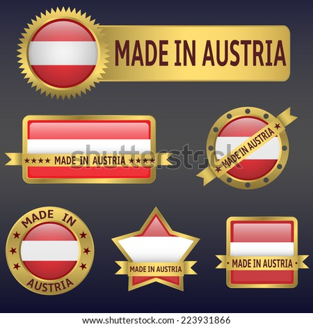 made in Austria labels,stickers,flags. Vector illustration. - stock vector