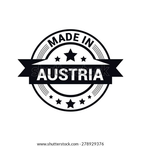 Made in Austria - Round black rubber stamp design isolated on white background. vector illustration vintage texture. - stock vector