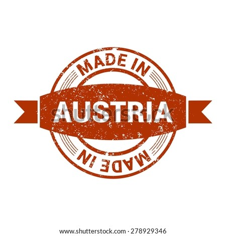 Made in Austria - Round red grunge rubber stamp design isolated on white background. vector illustration vintage texture. - stock vector