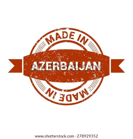 Made in Azerbaijan - Round red grunge rubber stamp design isolated on white background. vector illustration vintage texture. - stock vector